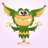Happy cartoon monster. Halloween green furry monster. Big collection of cute monsters. Halloween character. Happy cartoon monster. Halloween green furry monster Stock Image