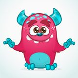 Happy cartoon monster. Halloween pink furry monster. Big collection of cute monsters. Halloween character. Vector illustrations. Good for book illustration Royalty Free Stock Photos