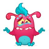 Happy cartoon monster. Halloween pink furry monster vector illustration. Stock Photography