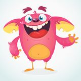 Happy cartoon monster. Halloween pink furry monster vector illustration. Stock Photos
