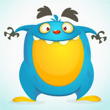 Happy cartoon monster. Halloween vector blue monster. Royalty Free Stock Image