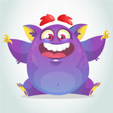 Happy cartoon monster. Halloween vector fat purple monster sitting. Stock Images