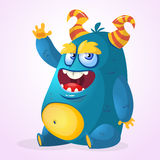 Happy cartoon monster. Halloween vector horned fat monster sitting and presenting. Royalty Free Stock Photo