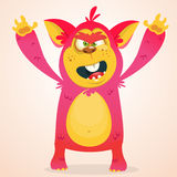 Happy cartoon monster. Halloween vector horned monster smiling. . Royalty Free Stock Photography