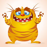 Happy cartoon monster. Halloween vector yellow striped monster. Stock Images