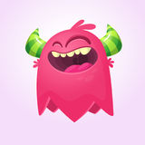 Happy cartoon monster. Laughing monster face emotion. Halloween vector illustration. Stock Photography