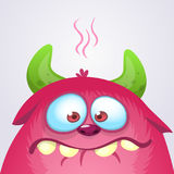 Happy cartoon monster. Vector Halloween pink furry monster. Royalty Free Stock Photography