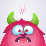 Happy cartoon monster. Vector Halloween pink furry monster. Royalty Free Stock Images