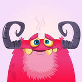 Happy cartoon monster. Vector Halloween pink furry monster. Stock Image