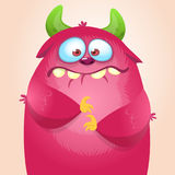 Happy cartoon monster. Vector Halloween pink furry monster. Stock Photography