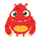 Happy cartoon monster. Vector Halloween red furry monster. Stock Photos