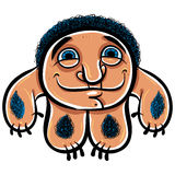 Happy cartoon monster, vector illustration. Stock Image