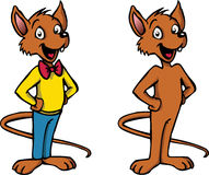 Happy cartoon mouse character. A happy, smiling cartoon mouse character standing upright. One version with clothes and one without Stock Images