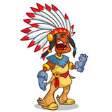 A happy cartoon Native American Stock Photo