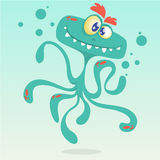 Happy cartoon octopus. Vector Halloween blue octopus character  Stock Images
