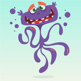 Happy cartoon octopus. Vector Halloween purple octopus character Stock Photos