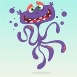 Happy cartoon octopus. Vector Halloween purple octopus character Stock Photos
