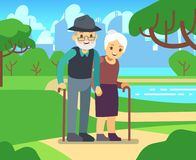 Happy cartoon older female in love outdoors. Old couple in park vector illustration. Couple senior together in green park Stock Image