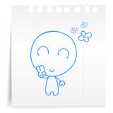 Happy cartoon_on paper Note Stock Image