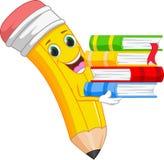 Happy cartoon pencil bring a book Royalty Free Stock Images