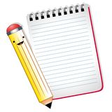 Happy Cartoon Pencil Notepad Stock Images