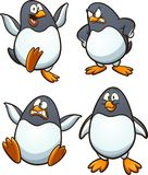 Happy cartoon penguin in different poses Stock Images