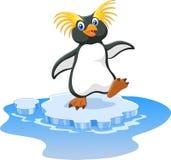 Happy cartoon penguin rockhopper on ice. Illustration of Happy cartoon penguin rockhopper on ice Stock Photography
