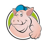 Happy cartoon pig with thumbs up Stock Image