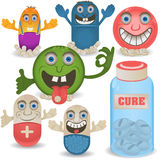 Happy cartoon pills Stock Images