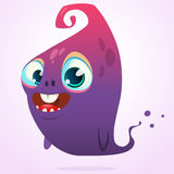 Happy cartoon pink and blue ghost. Vector Halloween monster character isolated Stock Photos