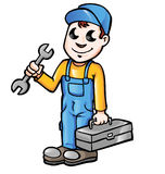 Happy cartoon plumber or mechanic. With spanner Royalty Free Stock Images
