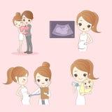 Happy cartoon pregnant woman Stock Photo