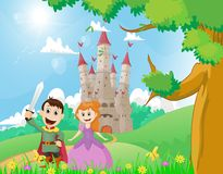 Happy cartoon prince and princess with a castle background. Vector illustration of happy cartoon prince and princess with a castle background Stock Image