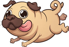 Happy cartoon pug Stock Images
