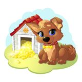 Happy cartoon puppy. And small house with treasure royalty free illustration