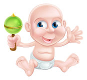 Happy cartoon rattle baby Stock Image