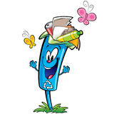 Happy cartoon recycle trash bin character recycling paper plasti. Happy cartoon smiling recycle garbage bin character . Reuse and ecycling plastic glass and Stock Photography