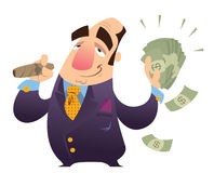 Rich man. A happy cartoon rich man, smoking cigar and holding many dollar bank notes Royalty Free Stock Photos
