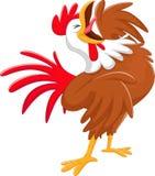 Happy cartoon rooster crowing Stock Photos