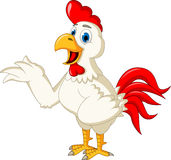 Happy cartoon rooster waving Royalty Free Stock Images