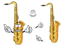 Happy cartoon saxophone instrument character Royalty Free Stock Image
