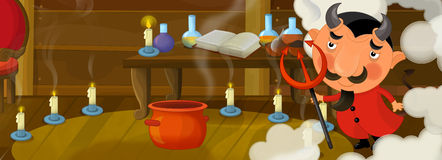 Happy cartoon scene - funny devil in the library of an old house Royalty Free Stock Photography