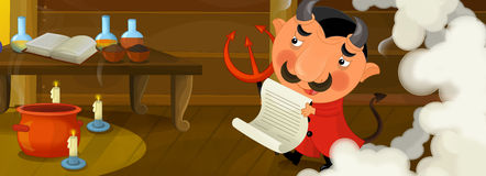 Happy cartoon scene - funny devil in the library of an old house Stock Image