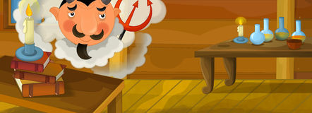 Happy cartoon scene - funny devil in the library of an old house Stock Photography