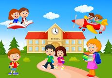 Happy cartoon school children Royalty Free Stock Photography