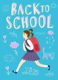 Happy cartoon schoolgirl running with backpack Stock Image