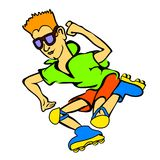 Happy Cartoon Skateboard Boy Wearing Stock Photography