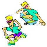 Happy Cartoon Skateboard Boy Wearing Royalty Free Stock Photo