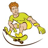 Happy Cartoon Skateboard Boy Wearing Stock Photos