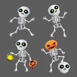 Happy cartoon skeleton set. Vector illustration to Happy Halloween on grey background Royalty Free Stock Image